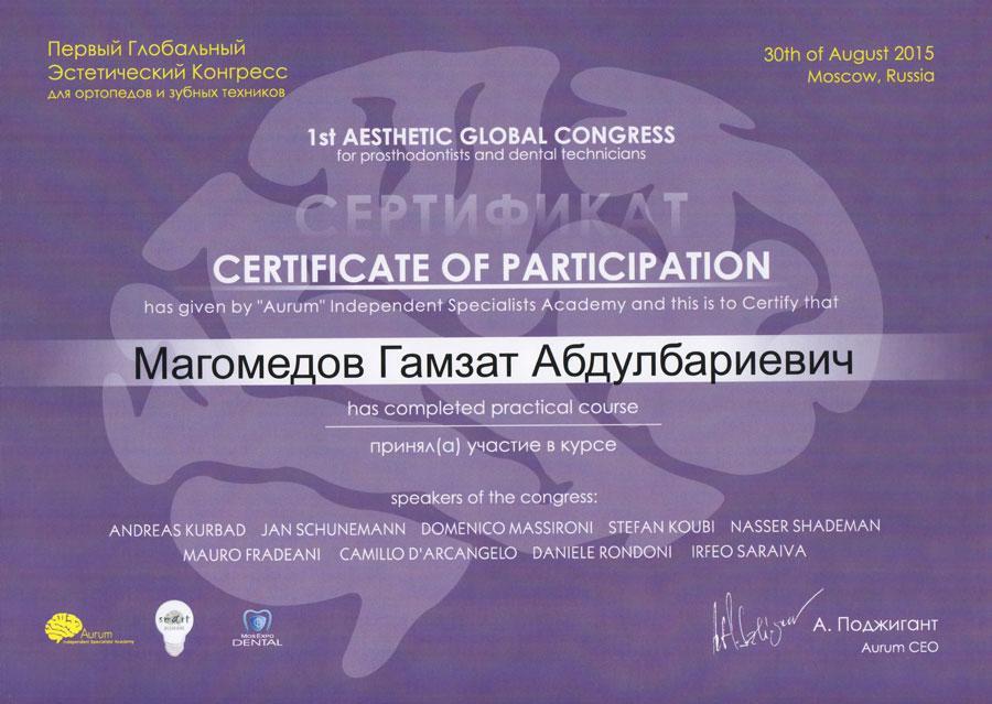 Сертификат Гамзат Магомедов
